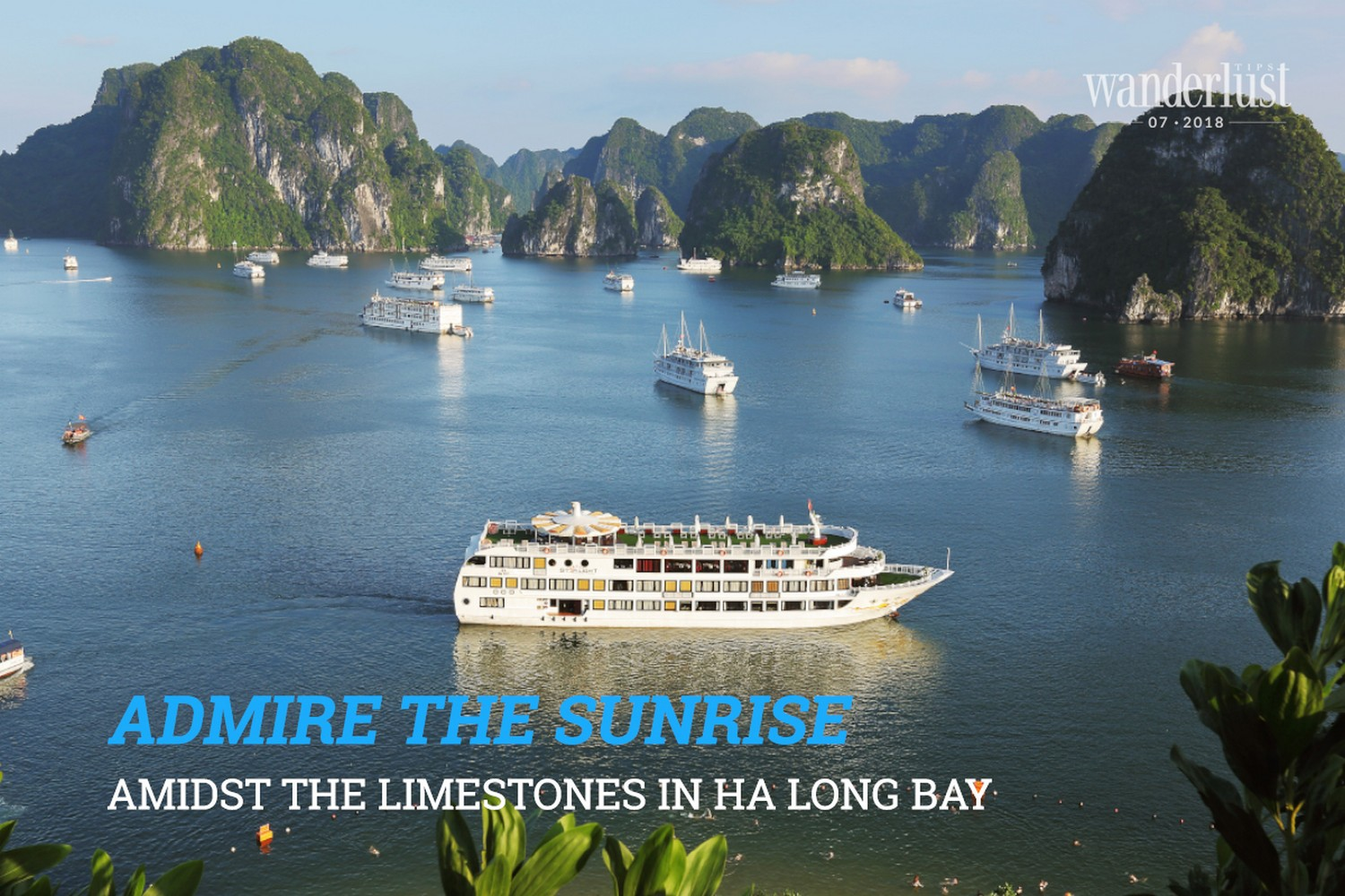 Wanderlust Tips Magazine | Admire the sunrise amidst the limestones in Ha Long Bay